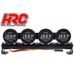 HRC8723J4 Set d'éclairage - 1/10 ou Monster Truck - LED - Prise JR - Barre de toit - Jeep Cover - 4x LED Blanches