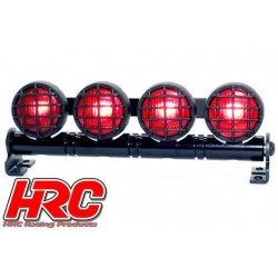 HRC8724BR Set d'éclairage - 1/10 ou Monster Truck - LED - Prise JR - Barre de toit - Type B Rouge