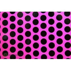 OR-41-014-071-010 Oracover - Fun 1 (16mm Dots) Fluorescent Pink + Black ( Length : Roll 10m , Width : 60cm )