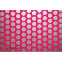 OR-41-014-091-010 Oracover - Fun 1 (16mm Dots) Fluorescent Pink + Silver ( Length : Roll 10m , Width : 60cm )