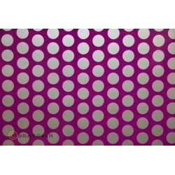 OR-41-015-091-010 Oracover - Fun 1 (16mm Dots) Fluorescent Violet + Silver ( Length : Roll 10m , Width : 60cm )