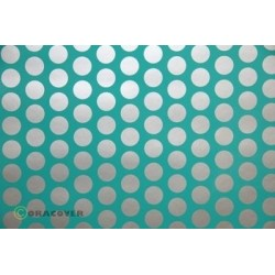 OR-41-017-091-010 Oracover - Fun 1 (16mm Dots) Turquoise + Silver ( Length : Roll 10m , Width : 60cm )
