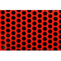 OR-41-021-071-010 Oracover - Fun 1 (16mm Dots) Fluorescent Red + Black ( Length : Roll 10m , Width : 60cm )
