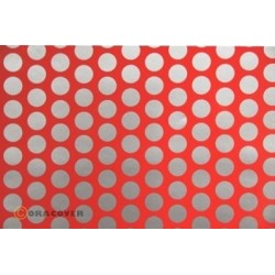 OR-41-021-091-010 Oracover - Fun 1 (16mm Dots) Fluorescent Red + Silver ( Length : Roll 10m , Width : 60cm )