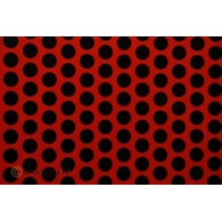 OR-41-022-071-010 Oracover - Fun 1 (16mm Dots) Light Red + Black ( Length : Roll 10m , Width : 60cm )