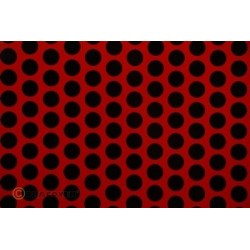 OR-41-023-071-010 Oracover - Fun 1 (16mm Dots) Ferrari Red + Black ( Length : Roll 10m , Width : 60cm )