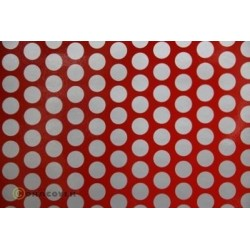 OR-41-023-091-002 Oracover - Fun 1 (16mm Dots) Ferrari Red + Silver ( Length : Roll 2m , Width : 60cm )