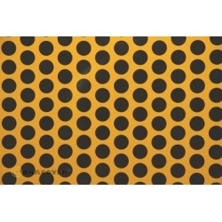 OR-41-030-071-010 Oracover - Fun 1 (16mm Dots) Cub Yellow + Black ( Length : Roll 10m , Width : 60cm )