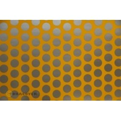 OR-41-030-091-010 Oracover - Fun 1 (16mm Dots) Cub Yellow + Silver ( Length : Roll 10m , Width : 60cm )