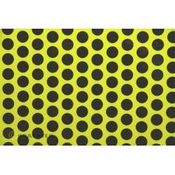 OR-41-031-071-010 Oracover - Fun 1 (16mm Dots) Fluor. Yellow + Black ( Length : Roll 10m , Width : 60cm )