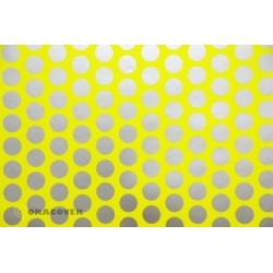 OR-41-031-091-010 Oracover - Fun 1 (16mm Dots) Fluorescent Yellow + Silver ( Length : Roll 10m , Width : 60cm )