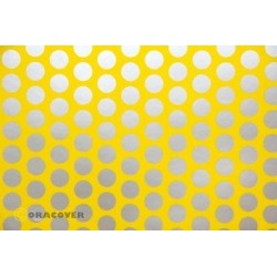 OR-41-033-091-010 Oracover - Fun 1 (16mm Dots) Cadmium Yellow + Silver ( Length : Roll 10m , Width : 60cm )