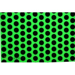OR-41-041-071-010 Oracover - Fun 1 (16mm Dots) Fluorescent Green + Black ( Length : Roll 10m , Width : 60cm )
