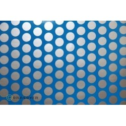 OR-41-051-091-010 Oracover - Fun 1 (16mm Dots) Blue Fluorescent + Silver ( Length : Roll 10m , Width : 60cm )