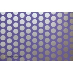 OR-41-055-091-010 Oracover - Fun 1 (16mm Dots) Purple + Silver ( Length : Roll 10m , Width : 60cm )