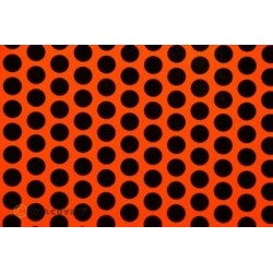 OR-41-064-071-010 Oracover - Fun 1 (16mm Dots) Fluorescent Red/Orange + Black ( Length : Roll 10m , Width : 60cm )