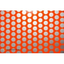 OR-41-064-091-010 Oracover - Fun 1 (16mm Dots) Fluorescent Red/Orange + Silver ( Length : Roll 10m , Width : 60cm )
