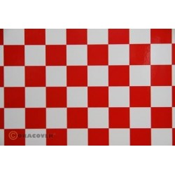 OR-43-010-023-010 Oracover - Fun 3 (25mm Square) White + Red ( Length : Roll 10m , Width : 60cm )