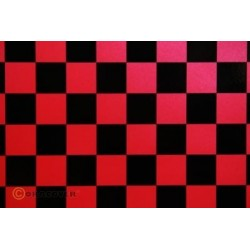 OR-43-027-071-010 Oracover - Fun 3 (25mm Square) Pearl Red + Black ( Length : Roll 10m , Width : 60cm )