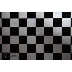 OR-43-091-071-010 Oracover - Fun 3 (25mm Square) Silver + Black ( Length : Roll 10m , Width : 60cm )
