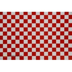 OR-44-010-023-010 Oracover - Fun 4 (12,5mm Square) White + Red ( Length : Roll 10m , Width : 60cm )