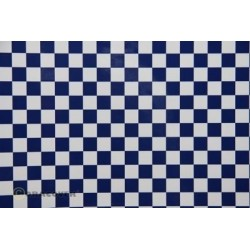 OR-44-010-052-010 Oracover - Fun 4 (12,5mm Square) White + Dark Blue ( Length : Roll 10m , Width : 60cm )