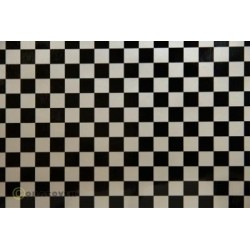 OR-44-016-071-010 Oracover - Fun 4 (12,5mm Square) Pearl White + Black ( Length : Roll 10m , Width : 60cm )