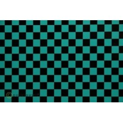 OR-44-017-071-010 Oracover - Fun 4 (12,5mm Square) Turquoise + Black ( Length : Roll 10m , Width : 60cm )
