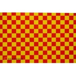 OR-44-033-023-010 Oracover - Fun 4 (12,5mm Square) Yellow + Red ( Length : Roll 10m , Width : 60cm )