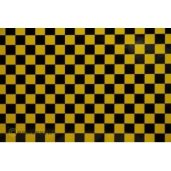 OR-44-033-071-010 Oracover - Fun 4 (12,5mm Square) Yellow + Black ( Length : Roll 10m , Width : 60cm )