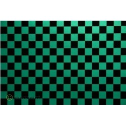OR-44-047-071-010 Oracover - Fun 4 (12,5mm Square) Pearl Green + Black ( Length : Roll 10m , Width : 60cm )