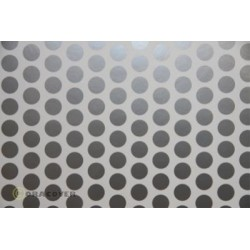 OR-45-010-091-010 Oracover - Orastick - Fun 1 (16mm Dots) White + Silver ( Length : Roll 10m , Width : 60cm )