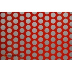 OR-45-022-091-010 Oracover - Orastick - Fun 1 (16mm Dots) Light Red + Silver ( Length : Roll 10m , Width : 60cm )