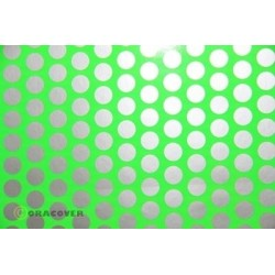OR-45-041-091-010 Oracover - Orastick - Fun 1 (16mm Dots) Fluorescent Green + Silver ( Length : Roll 10m , Width : 60cm )