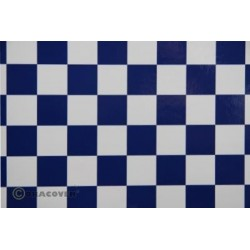 OR-47-010-052-010 Oracover - Orastick - Fun 3 (25mm Square) White + Dark Blue ( Length : Roll 10m , Width : 60cm )