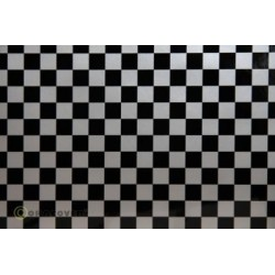 OR-48-091-071-010 Oracover - Orastick - Fun 4 (12,5mm Square) Silver + Black ( Length : Roll 10m , Width : 60cm )