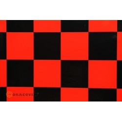 OR-491-023-071-010 Oracover - Fun 5 (52mm Square) Red - Black ( Length : Roll 10m , Width : 60cm )