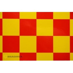 OR-491-033-023-010 Oracover - Fun 5 (52mm Square) Yellow - Red ( Length : Roll 10m , Width : 60cm )