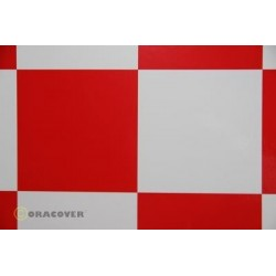 OR-691-010-023-002 Oracover - Fun 6 (104mm Square) White - Red ( Length : Roll 2m , Width : 60cm )