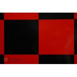 OR-691-023-071-010 Oracover - Fun 6 (104mm Square) Red - Black ( Length : Roll 10m , Width : 60cm )