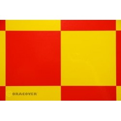 OR-691-033-023-010 Oracover - Fun 6 (104mm Square) Yellow - Red ( Length : Roll 10m , Width : 60cm )