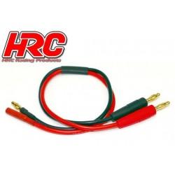 HRC9103G Câble de charge – doré - Prise Banane prise 4mm Male négatif / 4mm Femelle positif