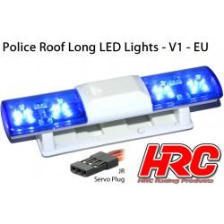 HRC8731B Set d'éclairage - 1/10 TC/Drift - LED - Prise JR - Barre de toit Police V1 - 6 modes de clignotement (Bleu / Bleu)