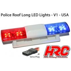 HRC8731U Set d'éclairage - 1/10 TC/Drift - LED - Prise JR - Barre de toit Police V1 - 6 modes de clignotement (Bleu / Rouge)