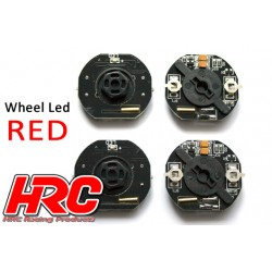 HRC8741R Set d'éclairage - 1/10 TC/Drift - LED – éclairage de roue - 12mm Hex - Rouge (4 pces)