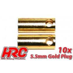 HRC90055F Connecteur - Gold - 5.5mm - femelle (10 pces)