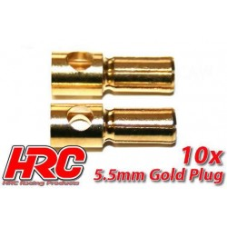 HRC90055M Connecteur - Gold - 5.5mm – male (10 pces)
