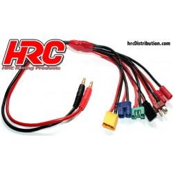 HRC9124 Câble de charge - doré - Prise à EC3 / MPX / XT60 / CT4 / Ultra T / Accu récepteur UNI (FUT & JR)
