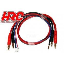 HRC9157 Câble de charge - TSW Pro Racing - Prise Gold 4mm prise 4mm & Balancer JST pour accu Hardcase – 50cm