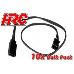 HRC9232KB Prolongateur de servo – Mâle/Femelle - UNI (FUT) type - 30cm Long - Noir/Noir/Noir - BULK 10 pces